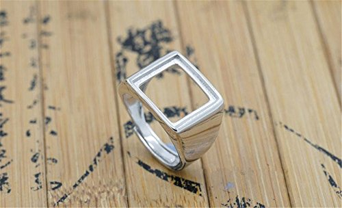 Luoyi Sterling Silver Ring Blank, Rectangle Cabochon Settings Platinum Plated Ring Base (R003B) (12x12mm)