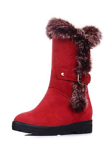 Cuña Xzz Cn40 us8 Red 5 Punta Uk6 5 Negro Tacón Vestido us8 Casual Vellón Zapatos Cuñas Rojo Redonda Cn39 De Eu39 Mujer Botas Uk6 Black BxqRIwrAx
