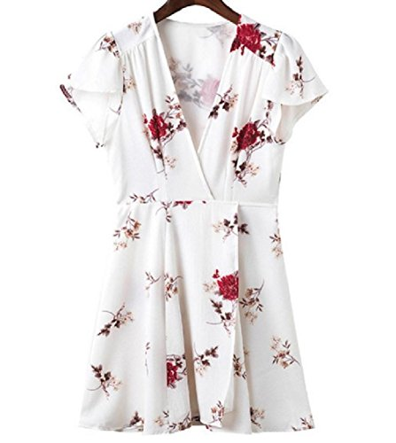 Mid Neck and White Coolred Short V Dress Drawstring Tribal Maxi Sleeves Floral Women XXwUqR8