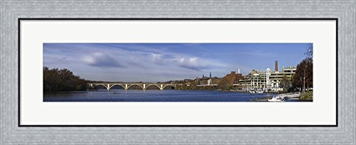 Francis Scott Key Bridge over the Potomac River, Old Georgetown, Washington DC, USA by Panoramic Images Framed Art Print Wall Picture, Flat Silver Frame, 35 x 15 inches
