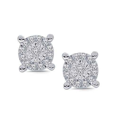 Earrings Silver Diamond Cluster (1/10 cttw Round White Diamond Miracle Plate 925 Sterling Silver Diamond Cluster Stud Classic Earring For Women)