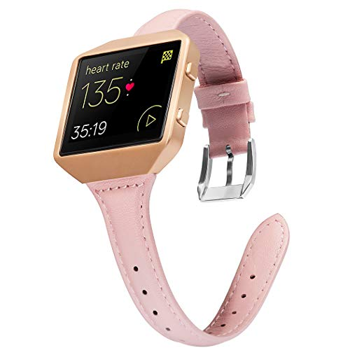 Wearlizer Compatible Fitbit Blaze Band Leather Slim Classic Genuine Leather Wristband Accessory Replacement Strap Fit bit Blaze Pink Rose Gold Frame