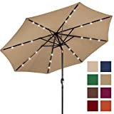 #7: Best Choice Products 10FT Deluxe Solar LED Lighted Patio Umbrella w/ Tilt Adjustment (Tan)