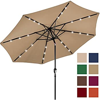 Best Choice Products 10FT Deluxe Solar LED Lighted Patio Umbrella W/ Tilt  Adjustment (Tan