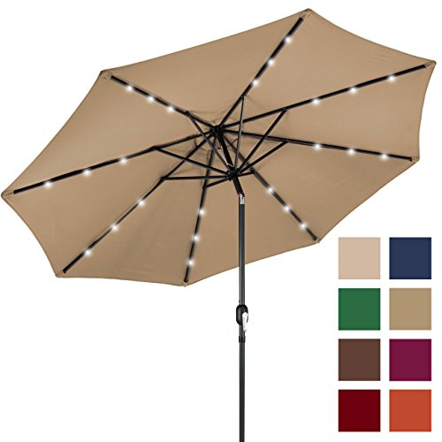 Furniture Umbrella (Best Choice Products 10FT Deluxe Solar LED Lighted Patio Umbrella w/ Tilt Adjustment (Tan))