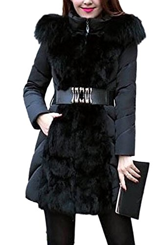 Elegantes de sudadera con capucha de piel Parkas de las mujeres con correa Black