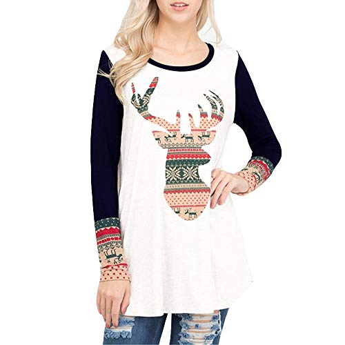 Navy Collar Christmas Merry New RedBrowm Women O Print Elk Round Neck Popular 2018 Top x6O4Z