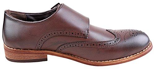Allen Brown Men's Urban Shoes Double Shoe Dark Monk Dress for Men Fox Strap Brogue Wingtip R6aqwxa5
