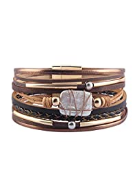 COOLLA Women's Bracelet - Pearl Leather Jewelry Multilayer Wrap Bracelets Magnet Clasp