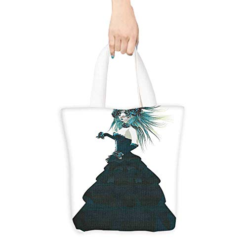 Eco-Friendly Canvas bags Sugar Skull Girl with Prom Dress Roses in Hand Gothic Halloween Lady Easy to all-match W16.5 x H14 x D7 INCH ()