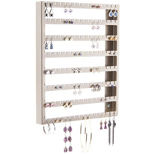 - Angelynn's Stud Earring Holder Organizer Wall Mount Hanging Closet Jewelry Storage Rack, Luka Satin Nickel Silver