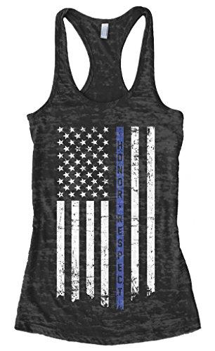 Threadrock Women's Honor Respect Blue Line Flag Burnout Racerback Tank Top XL Black Baby Blue 2x1 Rib Tank