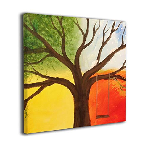 Price comparison product image Mintslove Four Seasons Trees Art Colorful Unframed Decorative Painting Canvas Wall Art Hanging Picture Artwork Wall Decoration for Living Room Bedroom Home Decor