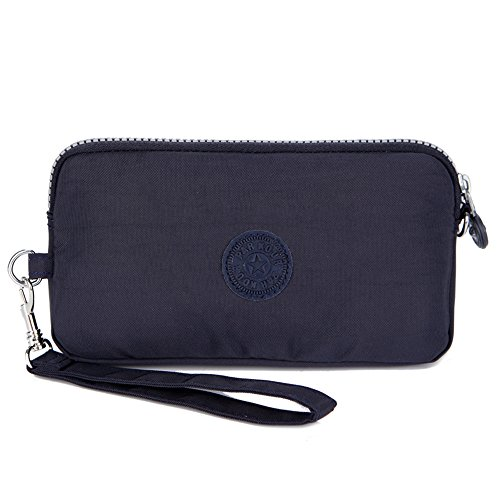 Sumcoa Womens Multi-purpose Canvas Casual Waterproof Nylon Wristlet Clutch bag Handbag Zipper Purse Cell Phone Money Pouch Wallet (Deep blue) by Sumcoa