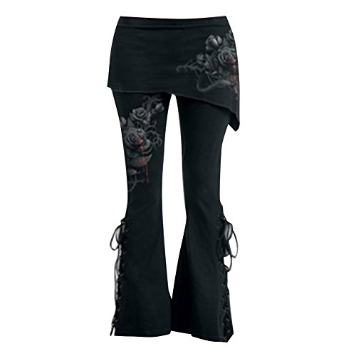 5xl Nero Retro Floreale Casuale Fasciatura Gotico Abbigliamento M Minigonne Alta PantaloniModa Ufficio Stampato Donna Vita Legging Con jc4RqAL35