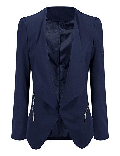 Grapent Women's Navy Blue Open Front Draped Asymmetric Side Zip Business Blazer Jacket US 10