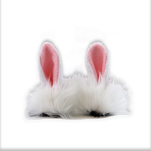 [Pawstar Clip In Furry Bunny Ears Hair Clips On - Classic White] (Pet Bunnies In Costumes)