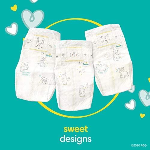 41JPh0Y SWL. AC Baby Diapers Newborn/Size 1 (8-14 lb), 198 Count - Pampers Swaddlers, ONE MONTH SUPPLY (Packaging and Prints on Diapers May Vary)    Wrap your baby in our softest comfort with Pampers Swaddlers diapers. Designed to keep skin dry and healthy, Pampers Swaddlers are the only diapers with a BreatheFree Liner that wicks away wetness and mess, allowing your baby's skin to breathe. Specially designed with your baby's comfort in mind, our Soft Flexi-Sides provide a soft cushiony stretch for a secure and comfortable fit. Plus, our Pampers Wetness Indicator lets you know when your baby might need a change, to help keep baby's skin dry and healthy. For protection that's gentle on your baby's skin, Pampers Swaddlers is hypoallergenic and free of parabens and latex.* And when your baby is new to the world, our Umbilical Cord Notch** provides a perfectly contoured fit that protects their delicate belly. That's why Pampers Swaddlers are the #1 Choice of U.S. Hospitals, Nurses and Parents†. For trusted protection, trust Pampers, the #1 U.S. Pediatrician Recommended Brand. *Natural rubber. **Sizes N–2. †Hospitals: based on hospital sales data; nurses: vs. other hospital brands, among those with a preference; parents: based on retail sales.