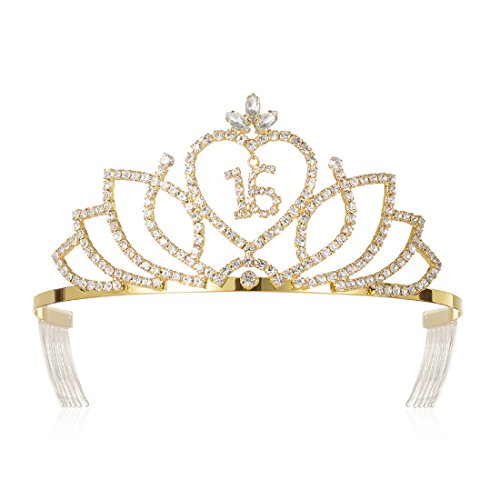 DcZeRong Princess 16th Birthday Tiaras Crowns Gold For Girls 16th Birthday Pageant Party -