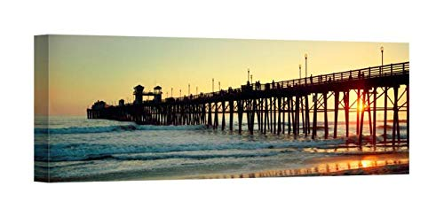 Easy Art Prints Panoramic Images's 'Pier in The Ocean at Sunset, Oceanside, San Diego County, California, USA' Premium Canvas Art - 36