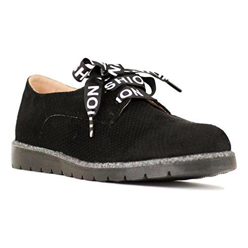 de Raso con Negro Zapato Calado Buonarotti Cordones Uf1xw