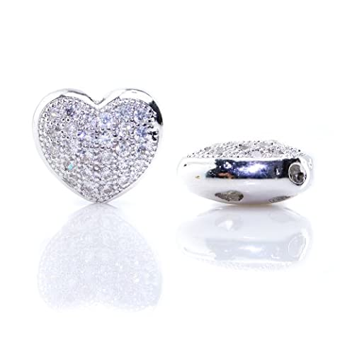 BEADNOVA 2pcs Silver Plated Clear White CZ Cubic Zirconia Pave Micro Setting Heart Shape Charm Beads Findings For Jewelry Making (02.Silver - Heart Charm Jewelry Finding