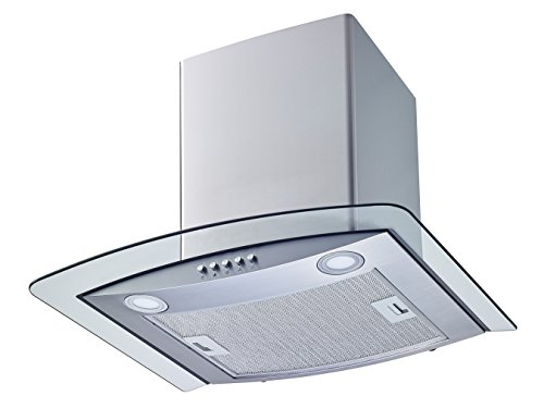 Winflo New 30'' Convertible Stainless Steel/Tempered Glass Wall Mount Range Hood with Aluminum Mesh filter, Ultra bright LED lights and Push Button 3 Speed Control by Winflo