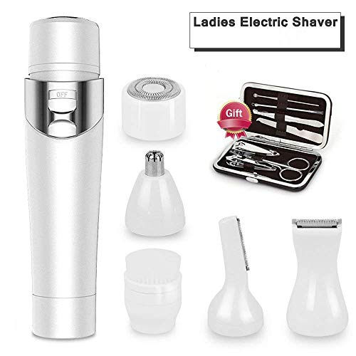 Women Electric Shaver, GINDOLY 5 in 1 Waterproof USB Rechargeable Women Hair Remover Cordless Wet/Dry Electric Razor for Women Body, Nose Hair,Facial Cleaning, Bikini Line with Free Nail Clipper Set