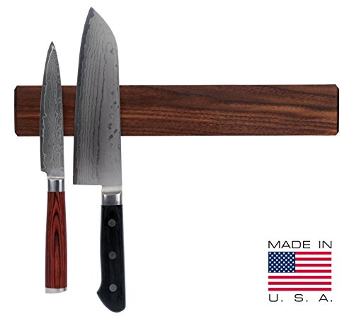 Walnut Magnetic Knife Holder with Multi Purpose Functionality as Knife Magnet, Knife Strip, & Magnetic Organizer- Securely Holds Your Knives & Keeps Your Kitchen Organized- Made in USA- 12 Inch