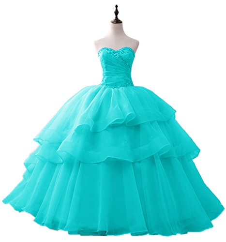 XSWPL Womens Elegant Beaded Organza Quinceanera Dress Ball gown Proncess Party Dress Tiffany Blue US12