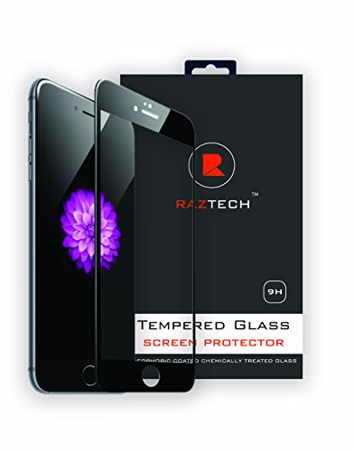 Raz Tech Ashai Curved Tempered Glass Screen Protector for Apple iPhone 6 and iPhone 6S - Covers Front and Sides - Black