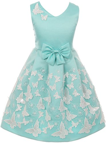 Price comparison product image Big Girl 3D Butterfly Mesh Lace Skirt with Ribbon Trim Flower Girl Dress Aqua 12 JKS 2112
