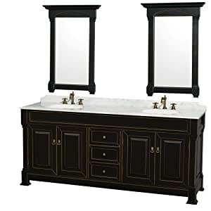 Wyndham Collection Andover 80 Inch Double Bathroom Vanity In Antique Black With White Carrera