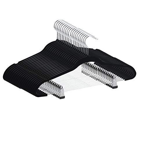 YIKALU Clothes Hangers with Clips 20 Pack Velvet Hangers Non Slip Hangers Premium Ultra Thin for Pants Hangers Skirt Hangers with Swivel Hooks(Black)