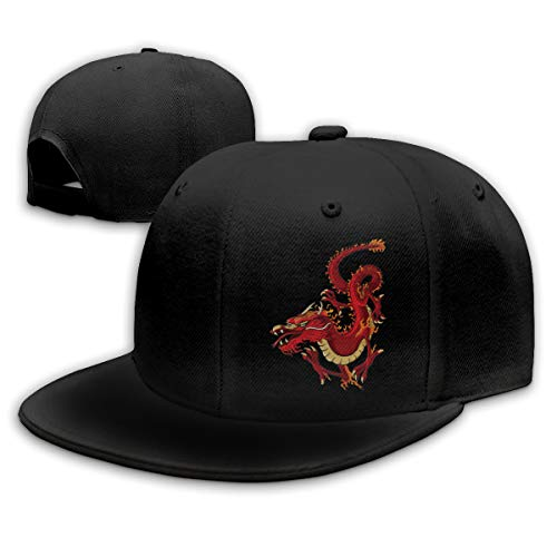 (Red Chinese Dragon Unisex Snapback Flat Bill Baseball Cap Adjustable)
