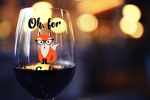 Oh, For Fox Sake 15 oz Stemless Funny Wine Glass | Unique Fox Themed Birthday Gifts For Men or Women | Fox Lover Gifts For Him or Her Idea For Office Coworker and Best Friend by Gelid (Image #2)'