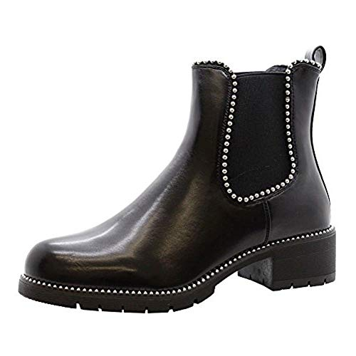 SAUTE STYLES Ladies Womens Block Chunky Heels Studded Chelsea Ankle Boots Office Shoes Size 3-8 Black Faux Leather Gusset