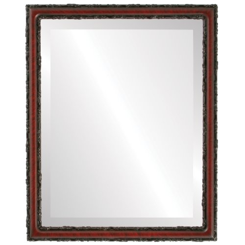 Rectangle Beveled Wall Mirror for Home Decor - Virginia Style - Vintage Cherry - 20x26 outside dimensions by Oval And Round Mirrors