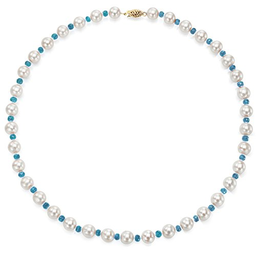 Aquamarine Pearl Necklace - La Regis Jewelry 14k Yellow Gold 8-8.5mm White Freshwater Cultured Pearl and 4-4.5mm Simulated Aquamarine Necklace, 18