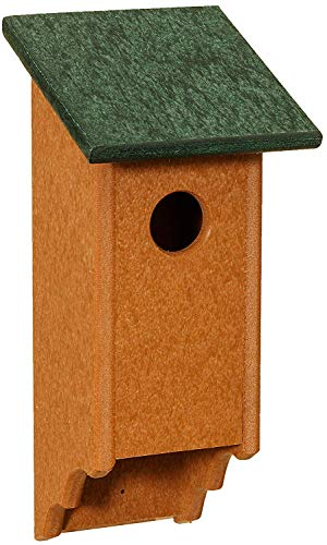 (Dress the Yard Eco Friendly Poly Bluebird House with Scalloped Cedartone Base (Forest Green))