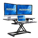 FLEXISPOT Stand Up Desk Converter - 42'' Wide Platform Standing Desk Computer Riser with Deep Keyboard Tray for Laptop (42'', Black, M7L)