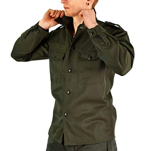 (Original Austrian Army Combat Shirt OD Olive drab Field BDU Long Sleeves Genuine Military Issue (XXL Short))