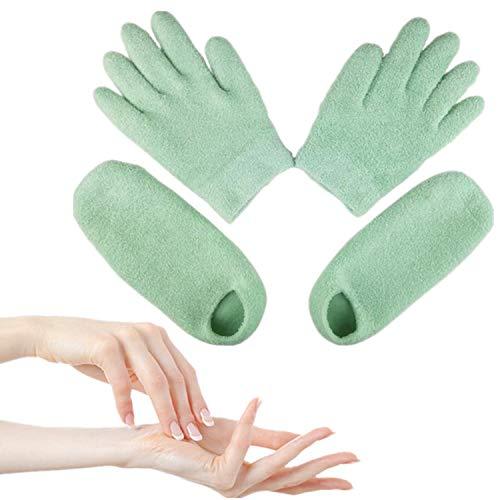Moisturizing Gloves, Moisturizing socks, Chiicol Gel gloves and Gel socks for Feet & Hand Treatment, Spa Gloves and Spa Socks for Dry Cracked Heels & Hands, One size Fits Most Men Women(Green)