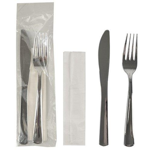 50 Bestecksets, metallisiert 23,5 cm x 5 cm silber : Messer, Gabel, Serviette, 1 x 50 Stück