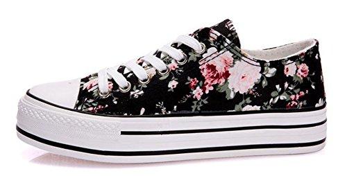 Ein bißchen Damen Studenten zuckerfarbe Sneaker Low Top Schuhe Canvas Textil flowers-a