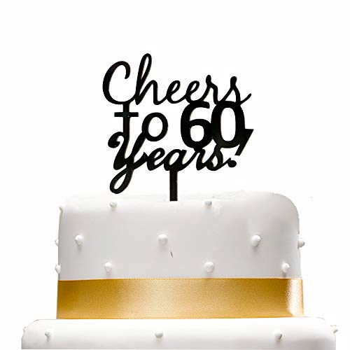 Cheers To 60 Years Cake Topper,Happy 60th Birthday Party Decoration Supplies -Black Anniversary Party Decoration.