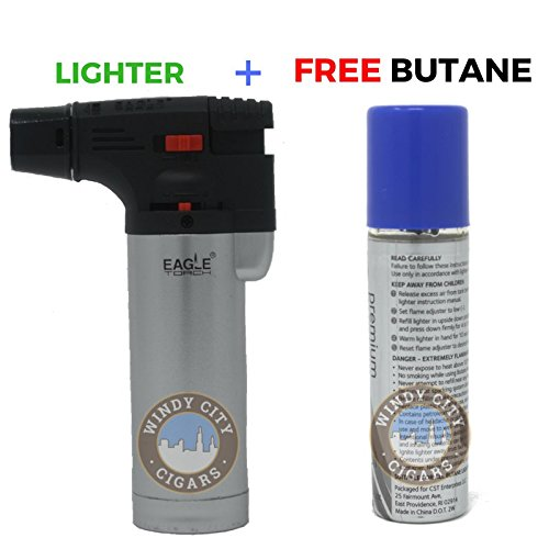 Eagle Iseries Jet Flame Butane Torch Lighter Refillable Windproof & butane (Silver) Silver Butane Torch Lighter