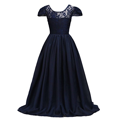 IWEMEK Kids Girls Flower Lace Chiffon Pageant Wedding Floor Length Dress Bridesmaid Birthday Prom Dance Maxi Gown