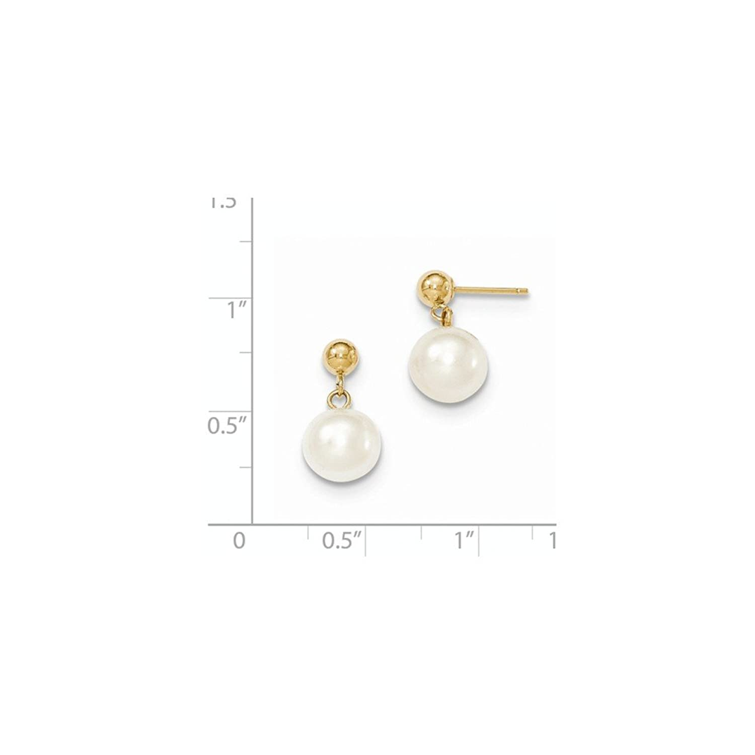 14k Gold 8-8.5mm Round White FW Cultured Pearl Post Dangle 8 to 9 mm