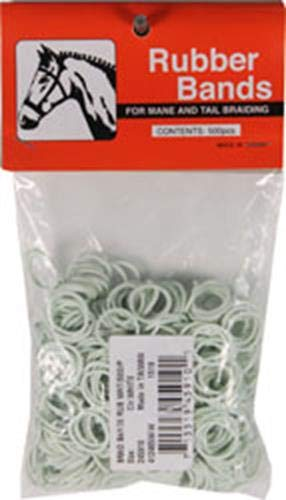 Partrade 245910 222729 Rubber Horse Braid Bands, White, 5